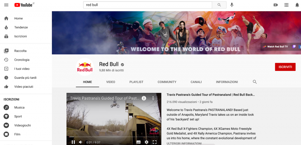 Branded content canale YouTube Red Bull